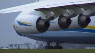 Antonov AN 225  loading,taxi and take off at East Midlands Airport 26th Oct 2009