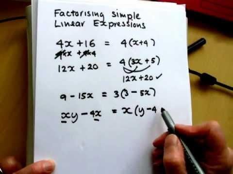 Factorising simple linear expressions - YouTube