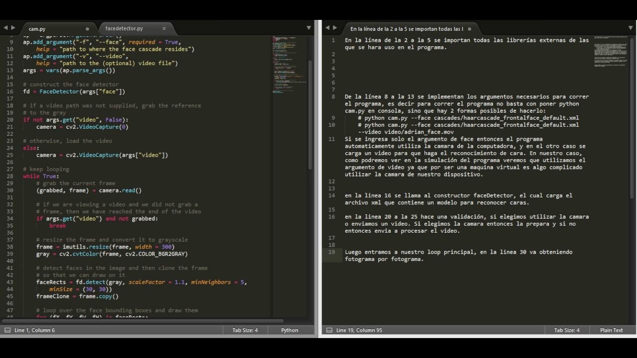 OpenCV with python  Webcam face detection  Grupo 1  Código