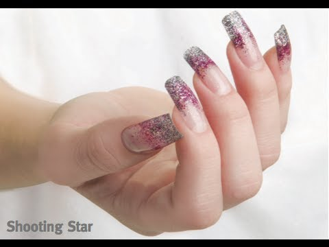Shooting Star Design Using Young Nails Acrylics Acrylic Nails