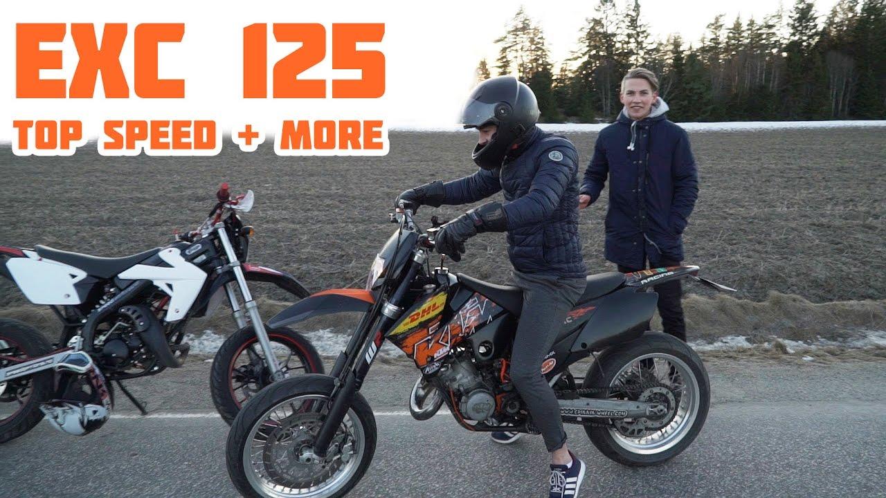KTM EXC 125 TOP SPEED, WHEELIES & FIRST TIME RIDING