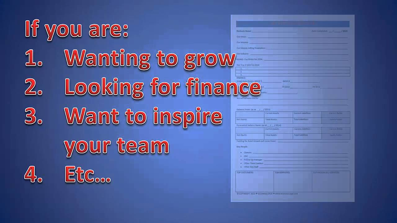Free One Page Business Plan Template YouTube - Free one page business plan template