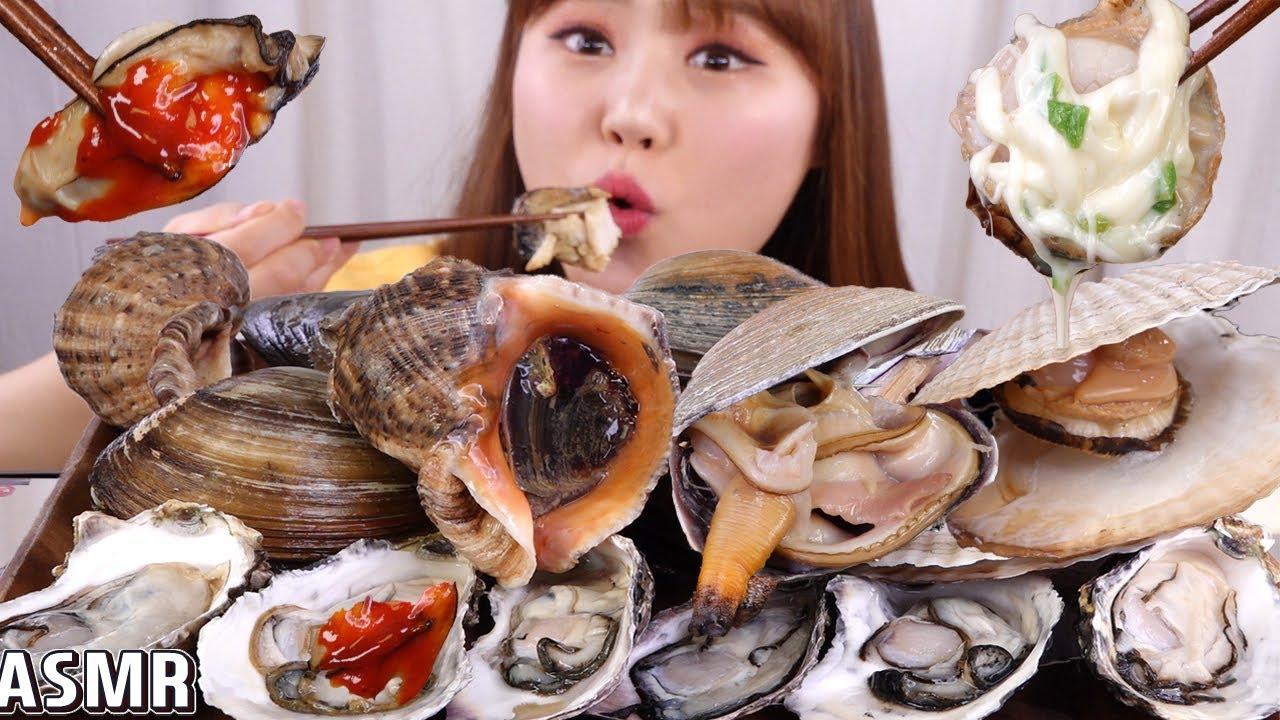 ASMR Mukbang 키조개, 가리비, 소라, 대합 등 다양한 조개구이와 구워먹는 치즈 먹방!