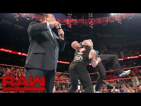 Randy Orton invades Raw to attack Brock...
