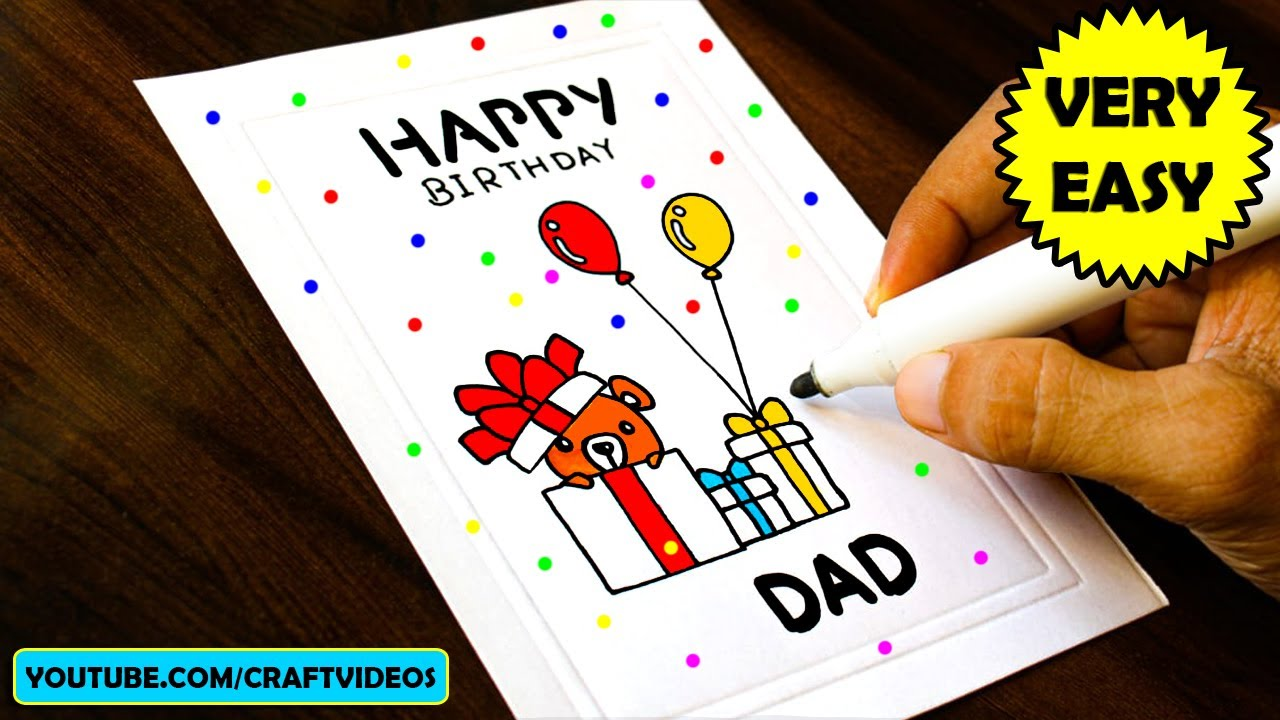 Birthday Card For Father Easy Youtube