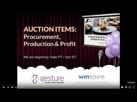 AUCTION ITEMS: Procurement, Production & Profit