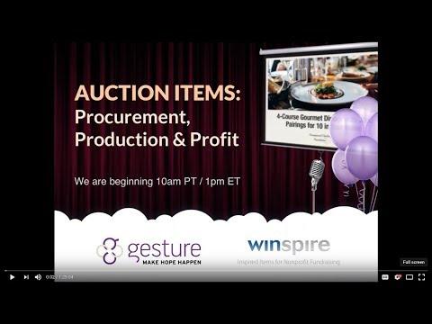 AUCTION ITEMS: Procurement, Production & Profit