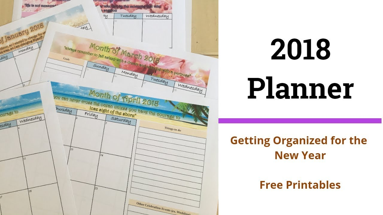 2018 monthly calendar planner free printable