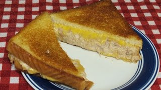 Grilled Cheese And Tuna Melt Sandwich On The Cast Iron Griddle