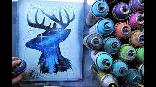 Forest Deer - GLOW IN DARK SPRAY PAINT ART By Skech