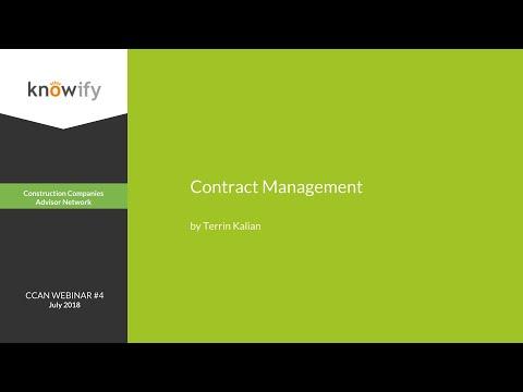 CCAN Certification Webinar #4: Contract Management - YouTube