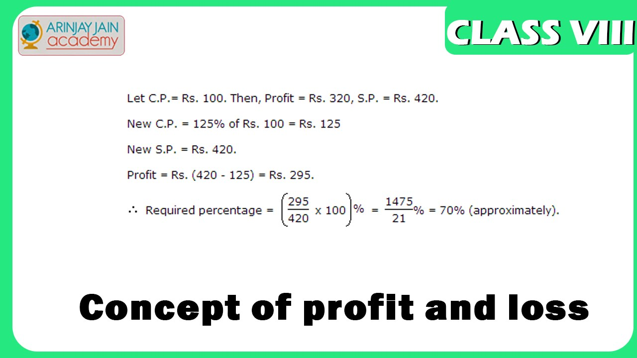 concept of profit and loss - Profit and Loss - Maths - Class 8/VIII ...