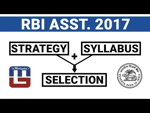 RBI ASSISTANT 2017 | Strategy + Syllabus = Selection | Must
