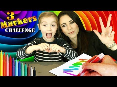 3 MARKER CHALLENGE !!! ELLIE vs MAMAN vs PAPA ! Coloriage Sofia Licorne T'Choupi