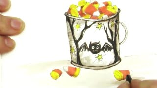 Pen Drawing Tutorial How to Draw a Cute Bucket of Candy Corn