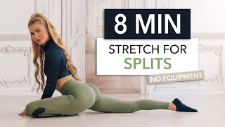 8 MIN STRETCH FOR SPLITS - how to get your front splits / No Equipment I Pamela Reif
