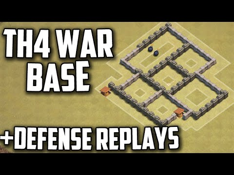 Clash Of Clans: TH4 War/Trophy Base Layout With Defense Replays