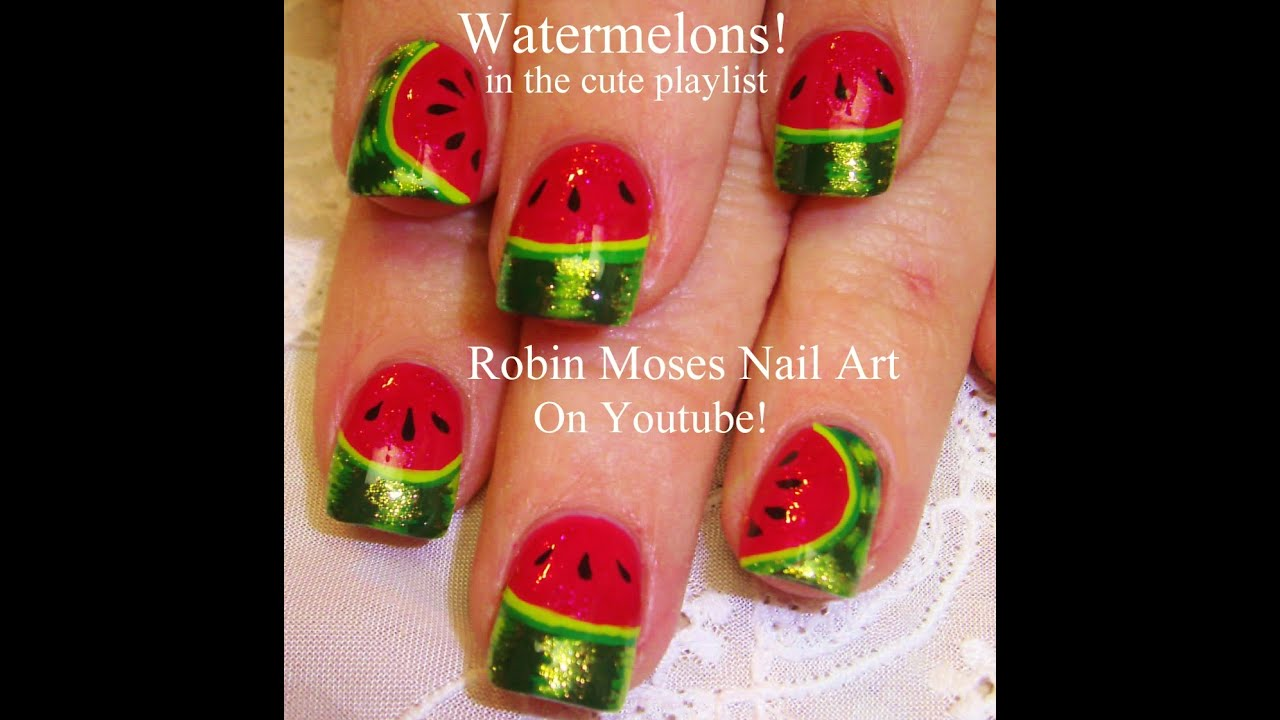 Easy nail art for beginners diy watermelon design youtube easy nail art for beginners diy watermelon design prinsesfo Images
