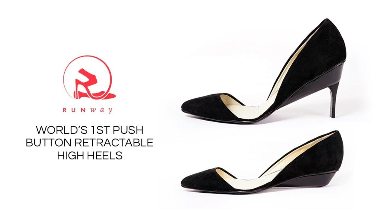 9142eacd55f5 Runway Heels - World s 1st Push Button Retractable High Heels - YouTube