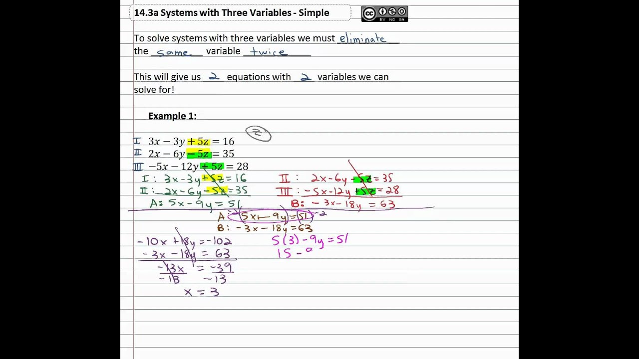 systems with three variables - 998×900