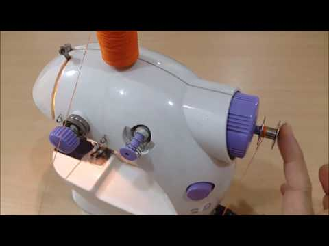 How to use and to wind a bobbin on a portable mini sewing machine with pedal video