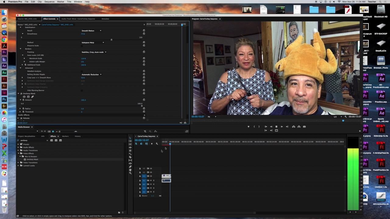 2016 How To Stabilize Video, Unsharp Mask and Create a Title Slide in  Premiere Pro