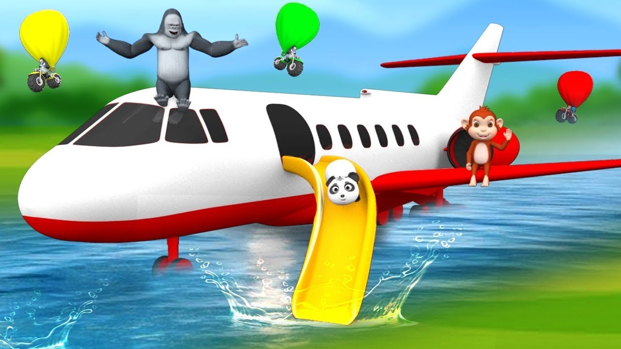 Funny Animals Airplane Ride Slider Rescue by Gorilla and Monkey | 3D Jungle Animals Comedy Video