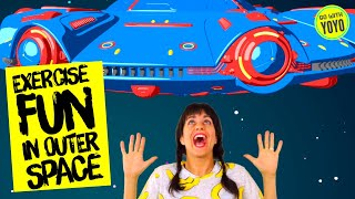 Outer Space Kids Fitness  | GO WITH YOYO - Yoga on a Flying Saucer | Brain Breaks for Kids