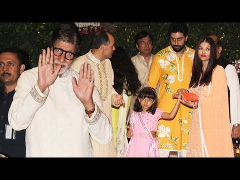 Gorgeous Aishwarya Rai Bachchan With Full Family At Ambani's Ganpati Bash 2017