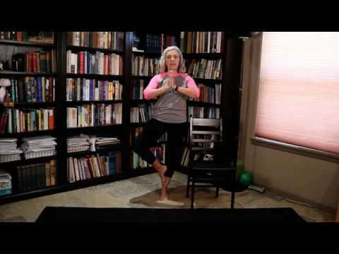 chair yoga  balance warrior 3 tree pose for core