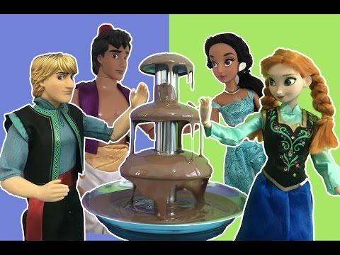 Disney Princess vs Princes Chocolate Fountain Challenge + Surprise Eggs + Candy w/ Elsa! Mini Movie