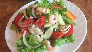 Полезный салат с морепродуктами! #ппрецепт!