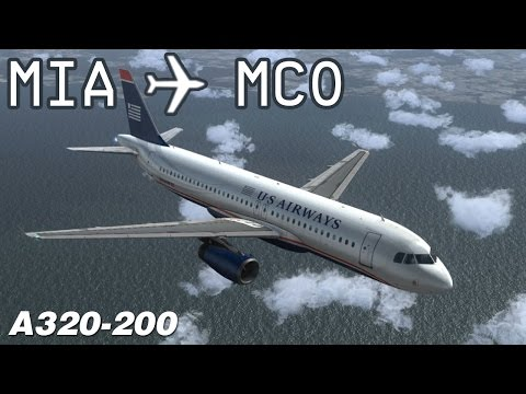 [FSX] Miami to Orlando   AWE2057   US Airways   Airbus X Extended A320   IVAO