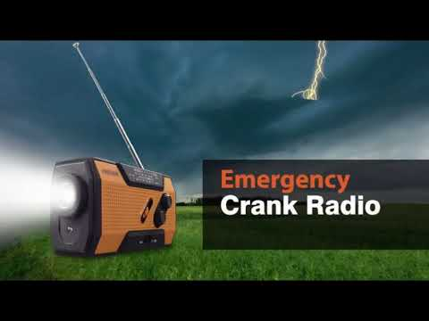 FosPower Emergency Solar Hand Crank Portable Radio, NOAA Weather Radio for Household