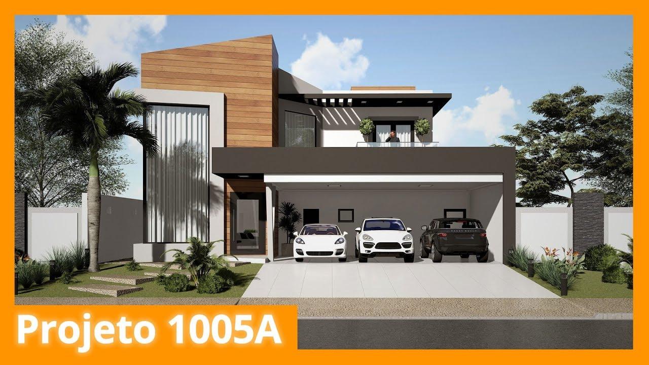 Projeto de sobrado moderno com 4 su tes 1005a youtube for Casa moderno kl
