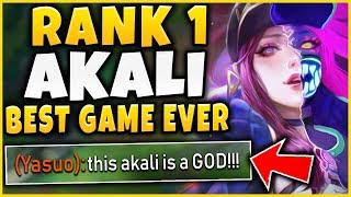 RANK 1 AKALI'S GREATEST GAME OF HIS LIFE! (ABSURD HIGH-ELO 1V9 CARRY) - League of Legends