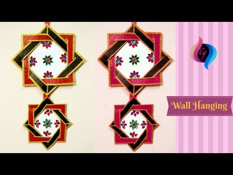 Waste material wall hanging - Home decorative item with waste materials - Cardboard crafts