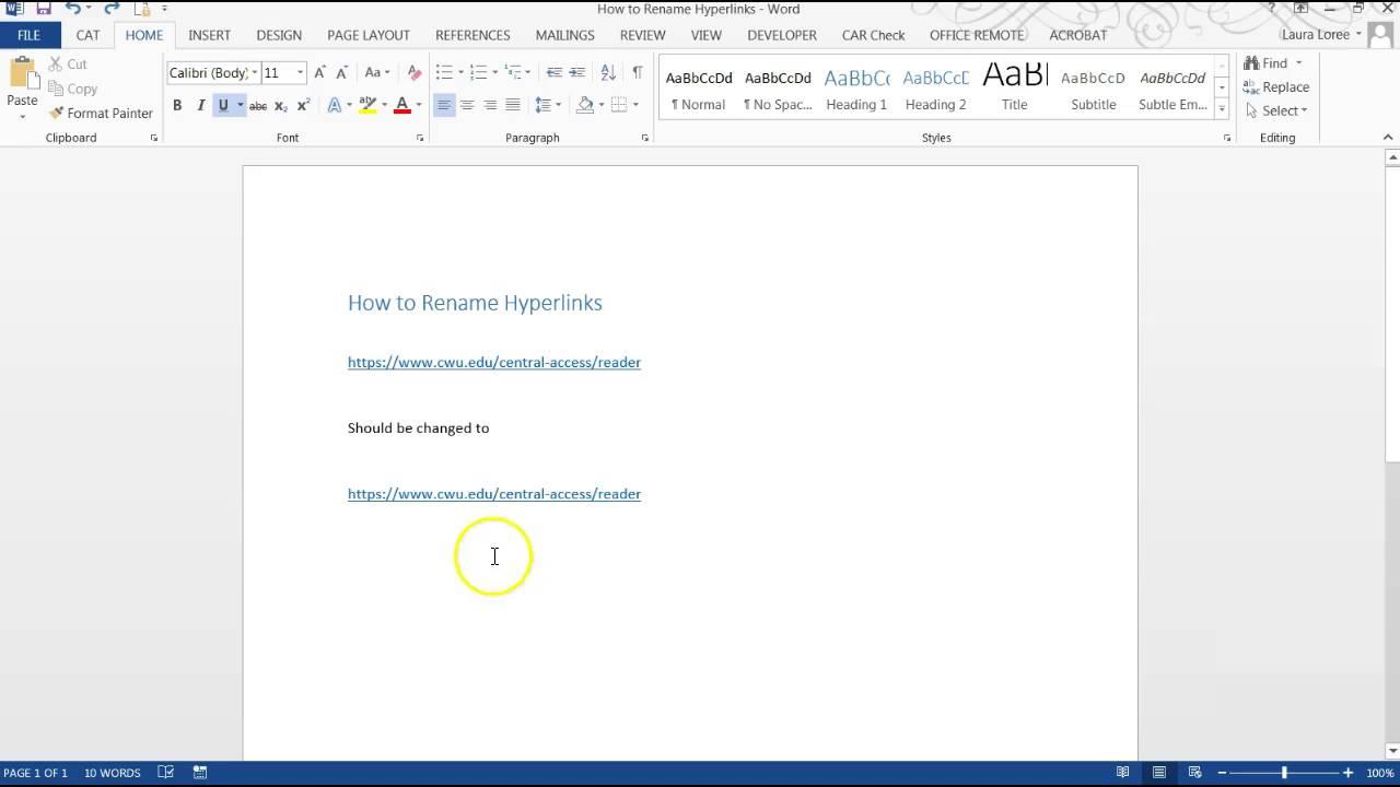 Renaming Hyperlinks in MS Word
