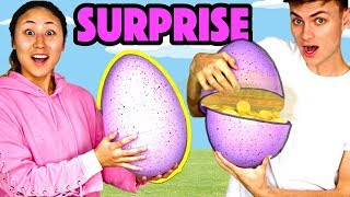 DIY GIANT SURPRISE EGG OPENING (Easy Easter Crafts & DIYs)