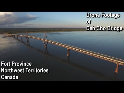 Fort Province Northwest Territories, Canada Deh Cho Bridge ''Drone Footage''