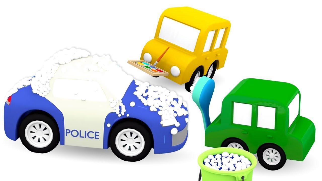 O carro de policia precisa de um banho! 4 carros coloridos! Histórias e desenhos para crianças