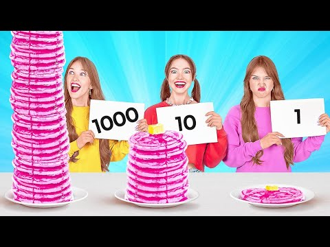 1000 LAYERS FOOD CHALLENGE    Giant VS Tiny Food For 24 Hours by 123 Go! FOOD