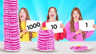1000 LAYERS FOOD CHALLENGE || Giant VS Tiny Food For 24 Hours by 123 Go! FOOD