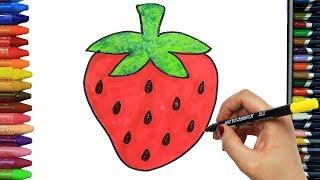 Cómo Dibujar y Colorear fresa, mariposa | Dibujos Para Niños