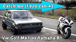 VW Golf Mk1 1056HP vs Yamaha R1 182HP street race Full Version CMIYC#1