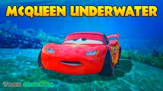 LIGHTNING MCQUEEN UNDERWATER Rescue w/ Spiderman, Hulk and Wolverine Cartoon for Kids thumbnail