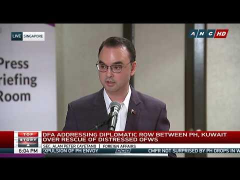 DFA Sec. Cayetano holds press briefing after Kuwait expelled Ambassador Villa
