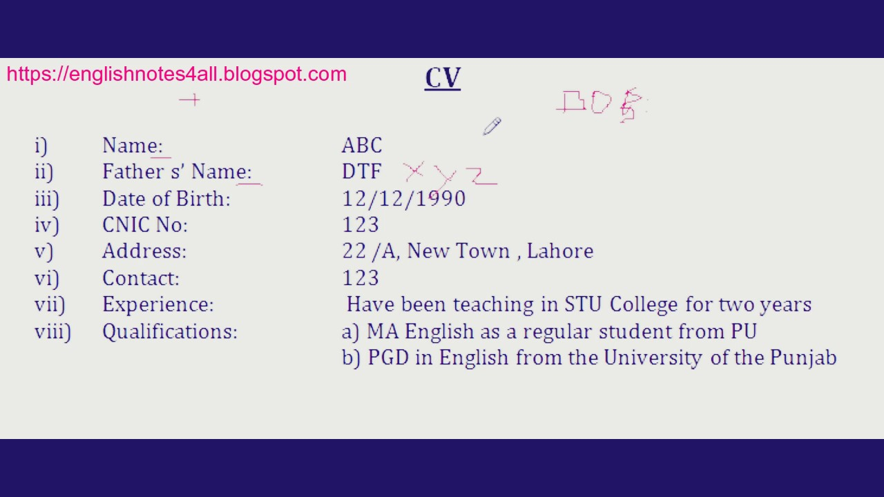BA English How to write CV for a job lecture by Shahid Bhatti