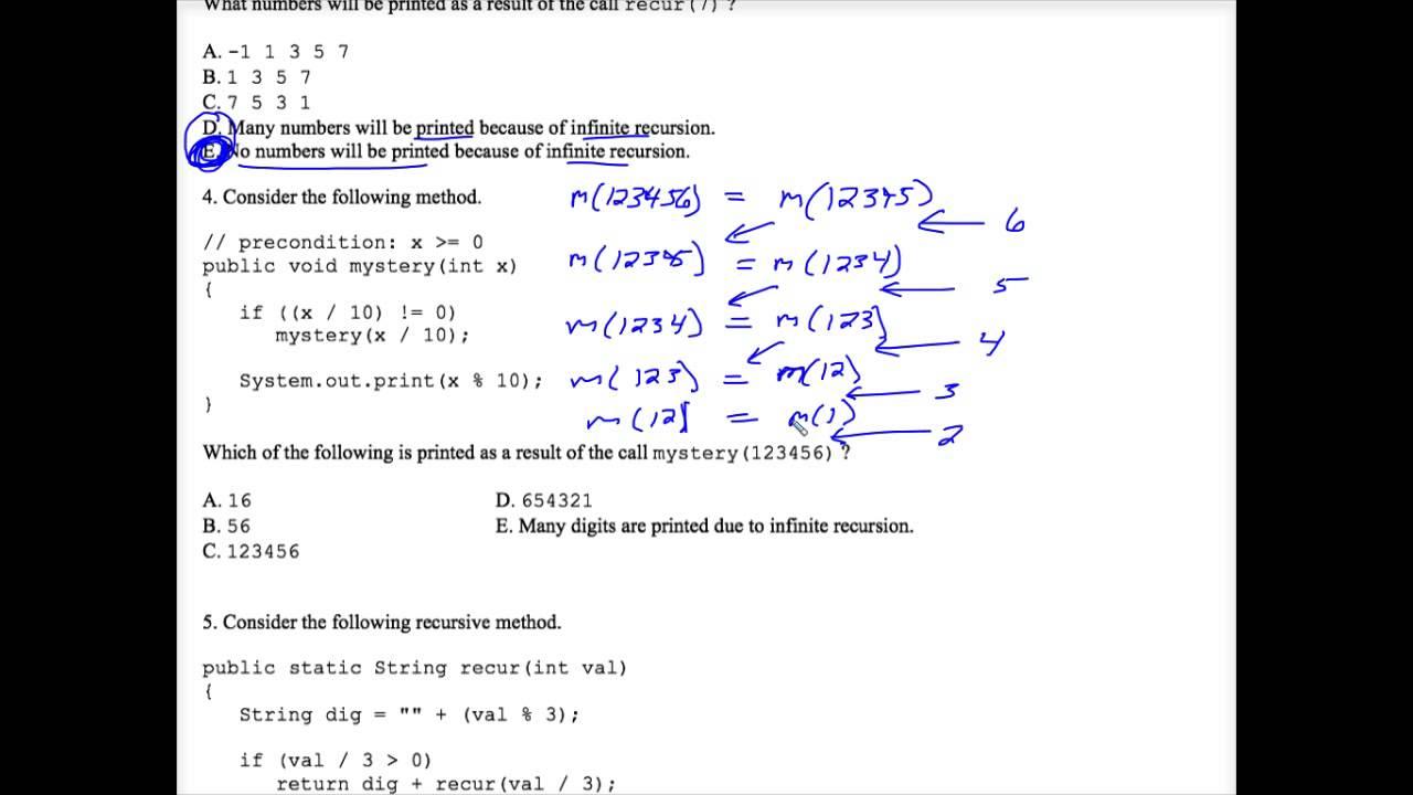 Java Recursion Multiple Choice Worksheet 2 Youtube
