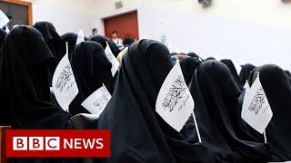 Afghan women protest Taliban dress code - BBC News